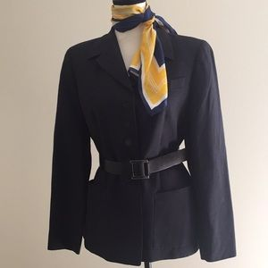 Elements Escada Navy Wool Linen Trouser Suit Sz 10